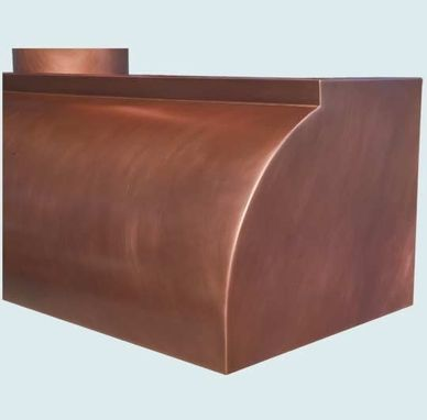 Custom Made Copper Range Hood With Tall Round Stack