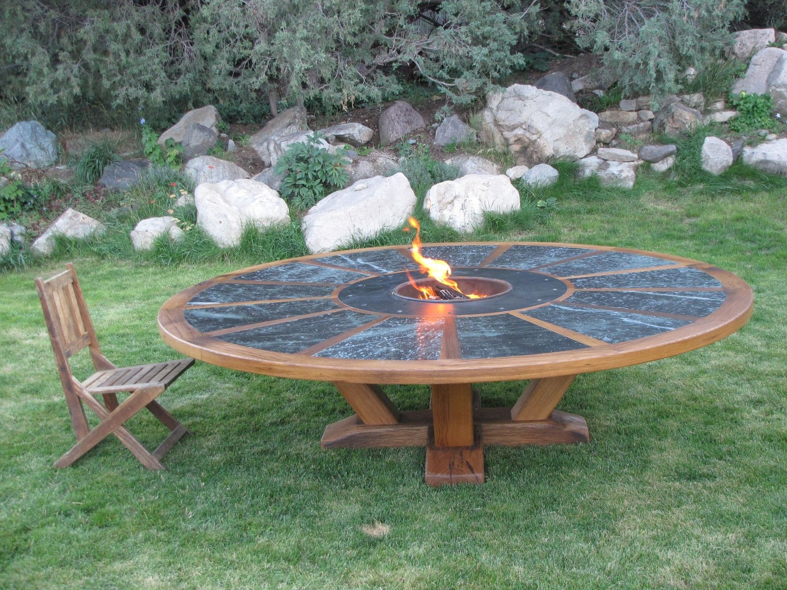 Hand Made 9 Round Table With Fire Pit In The Middle By