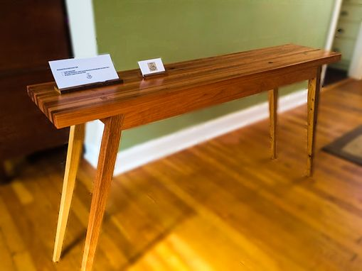 Custom Made Mid Century Modern Reclaimed Oak And Cherry Sofa Table Console Table