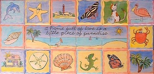 Custom Made Custom Painted And Glazed Ceramic Tile Mural