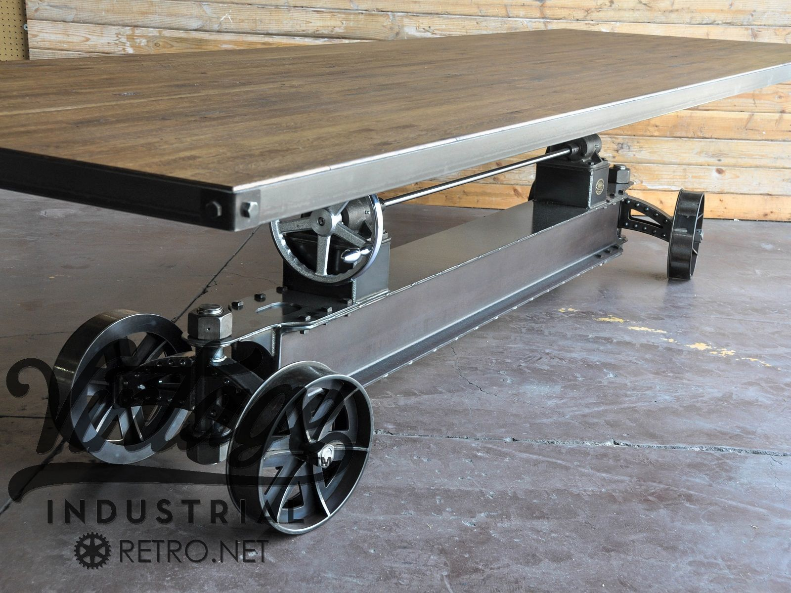 Picture of: Hand Made Train Crank Table By Vintage Industrial Llc Custommade Com
