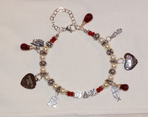 Custom Made Name Charm Bracelet - Swarovski Pearls, Birthstons Gemstones, And Sterling Silver Initials