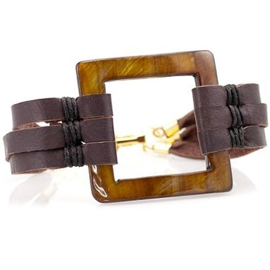 Custom Made Unique Brown Leather & Square Shell Cuff Bracelet