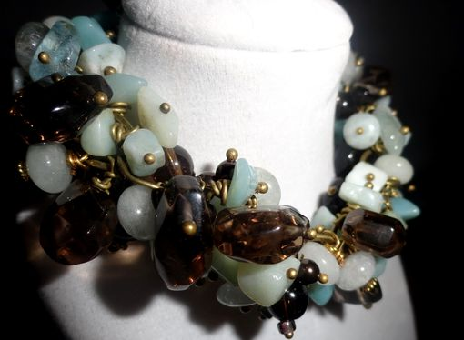 Custom Made Amazonite, Aquamarine & Smoky Quartz Bracelet