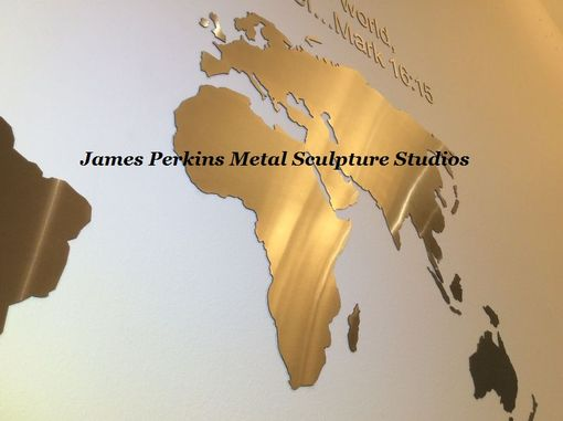 Custom Made World Map / Brushed Stainless Steel