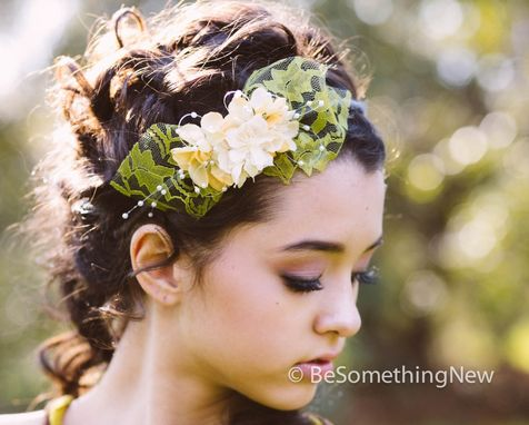 Custom Made Lace And Flowers Spring Headband, Wedding Hair, Bridesmaid Headband