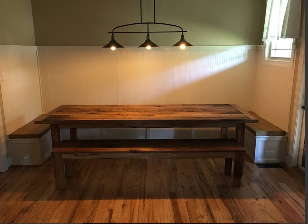 Miraculous Handmade Reclaimed Barnwood Table And Bench By Timbers Ibusinesslaw Wood Chair Design Ideas Ibusinesslaworg