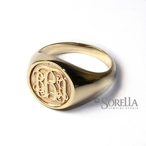 custom women u0026 39 s personalized circle monogram ring in script style in 14k gold by sorella jewelry