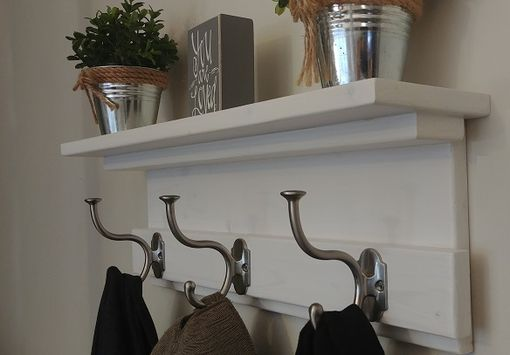 Custom Made Rustic Entryway Coat Rack - Coat Rack With Shelf