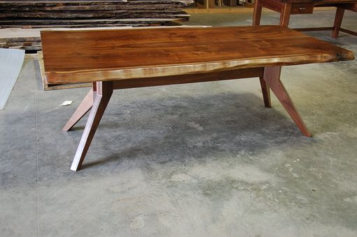 Custom Made Live Edge Slab Dining Table With Modern Trestle Base
