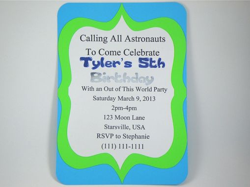 Custom Made Astronaut Boy Birthday Invitation Handmade Personalized