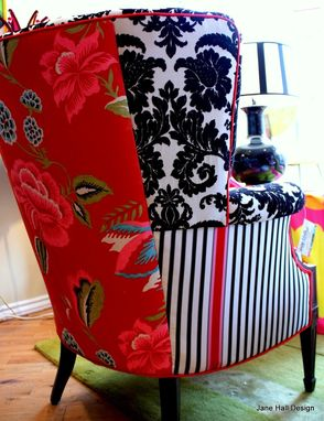 Custom Made Upholstered Vintage Arm Chairs Repurposed In Red White And Black Designers Guild Fabric