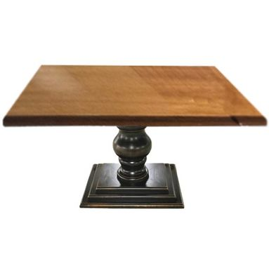 Custom Made Square Farm Dining Table With Pedestal Base