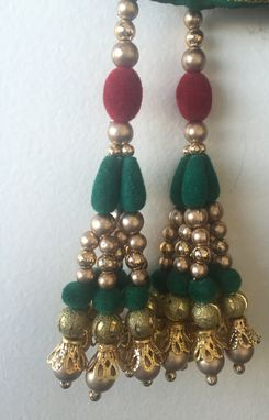 Custom Made Red,Green And Golden Beads In Silk Fabric.Could Be Hanged In Thread Too