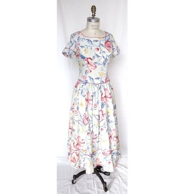 Custom Made Vintage (1970s) Floral Middy Dress With Drop Waist And Gather Bottom
