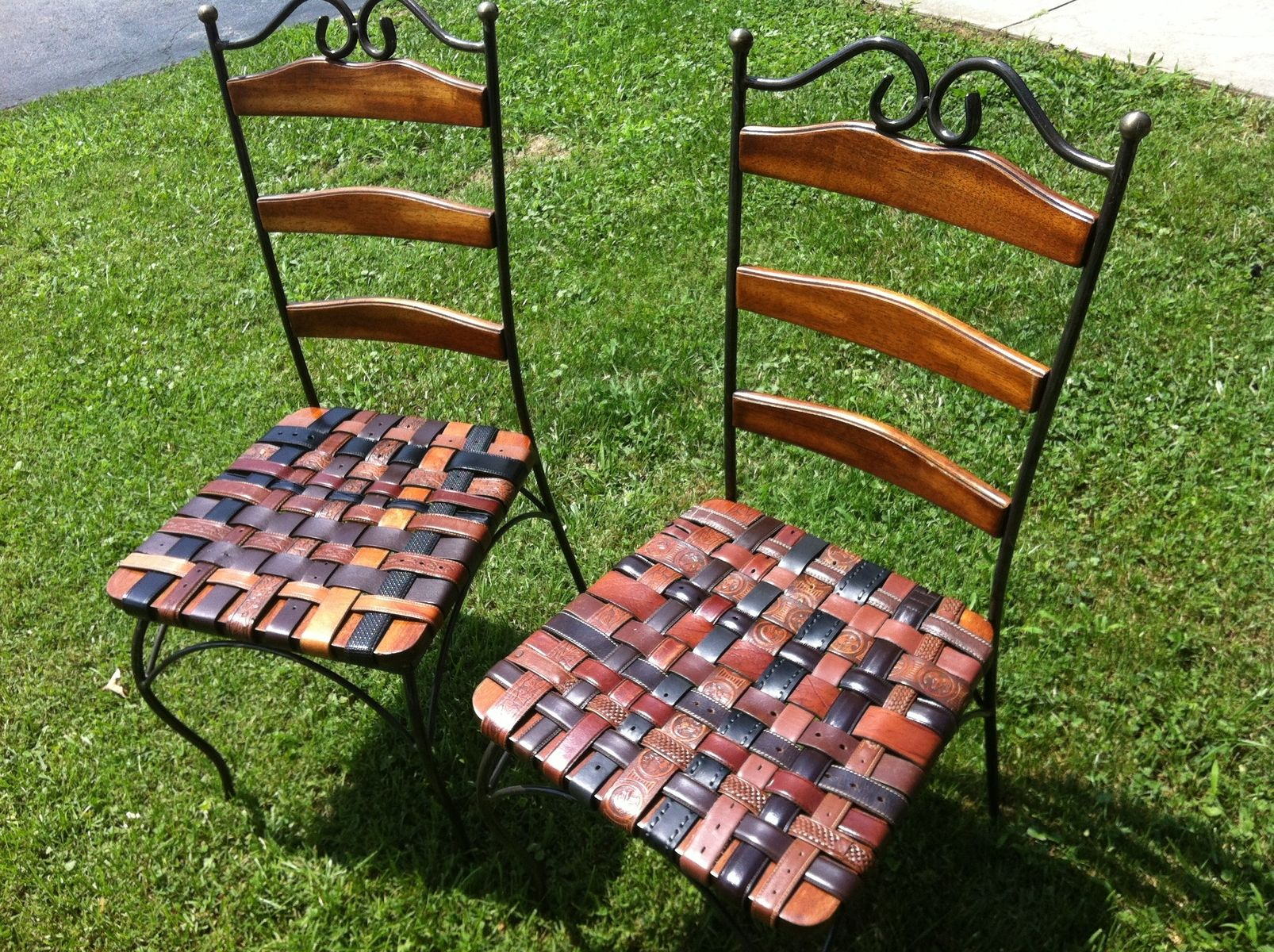 Hand Made Kitchen Chair Set With Woven Leather Recycled Belts For – Kitchen Chair Set