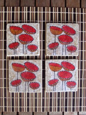 Custom Made Coasters Poppy Flower Handmade With Original Artwork-Set Of 4 Red Orange