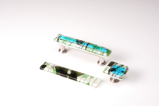Custom Made Skyblue With Green Fractures And Streamers Stacked Ivory Fused Glass Cabinet Pull