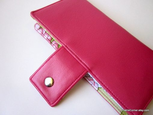 Custom Made Handmade Women Wallet Pink Berry Green White Floral Id Clear Pocket - Ready To Ship