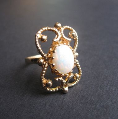 Custom Made Unique Vintage Ring 14k Yellow And Opal