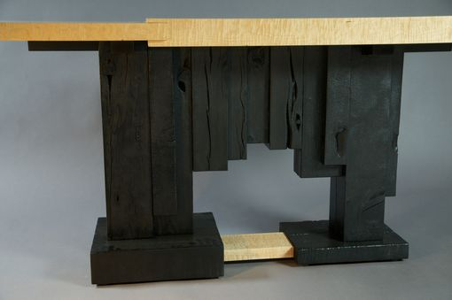 Custom Made Carved And Charred Art Deco Console
