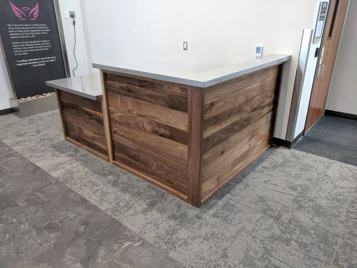 Custom Made Walnut And Stainless Steel Reception Desk