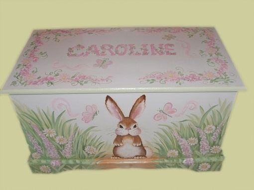 Custom Made Wooden Bunny Toy Box In Pinks And Greens