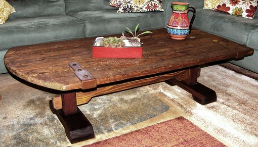 Custom Made Rustic Wood Coffee Table With Trestle Base & Forged Iron Accents By Rustic Furniture Hut