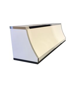 Custom Made #22 Custom Powder Coated White Range Hood With Polished Stainless Steel Straps