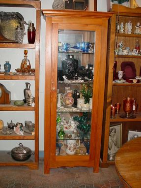 Custom Made Louisiana Cypress Glass Single Door Display Cabinet