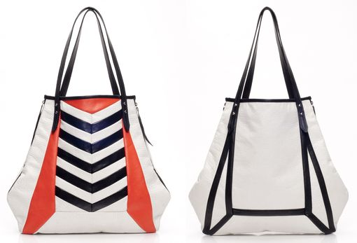 Custom Made Leather Shopper Tote With Chevron Stripes And Contrast Trim