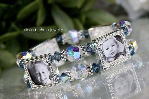 Custom Made Four Frame Photo Bracelet With Clear Crystals And Denim Blue Crystals