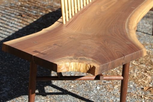 Custom Made Live Edge Walnut Spindle Back Bench