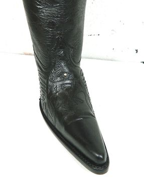Custom Made Black Cowboy Boots Black Eagle And Top Inlay 22¨ Tall Men And Woman Sizes