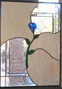 Custom Made Simple Contemporary Rose Stained Glass Panel