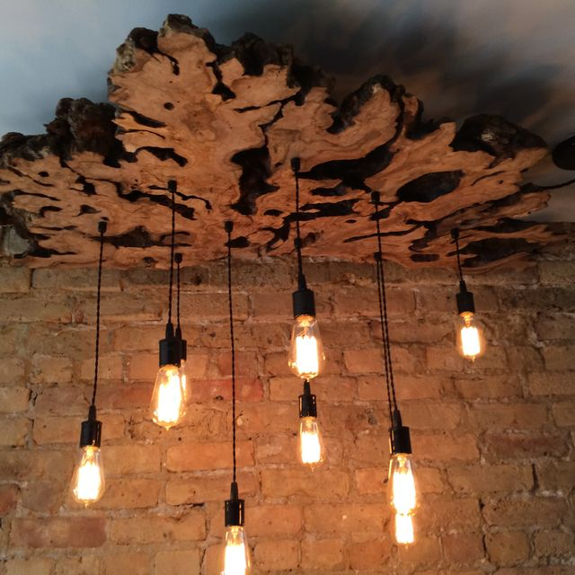 Hand Made Large Live Edge Olive Wood Chandelier With Edison Bulbs Rustic Contemporary By 7m Woodworking Custommade
