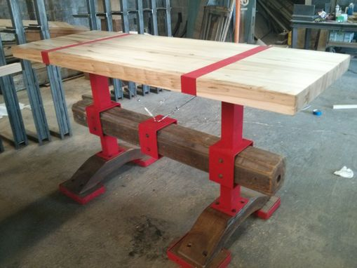 Custom Made Modern Butcher Block Post And Beam Island Table