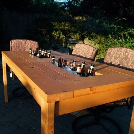 Custom Patio Table With Built In Cooler By Backyard Escape