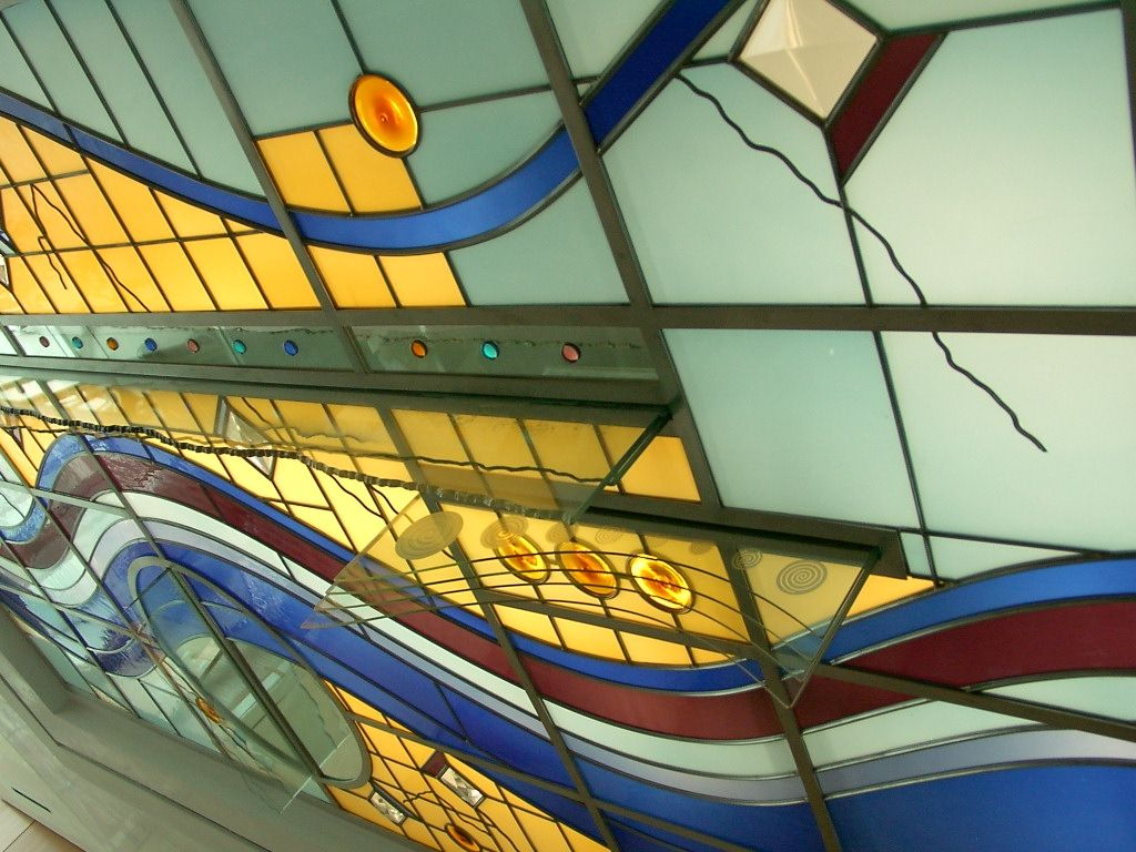 Handmade Contemporary Graphic Design Ceiling With Penetrating ...