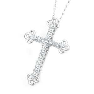 Custom Made Unique Diamond Cross Pendant/Necklace In 14k White Gold, Cross Necklace, Religious Necklace