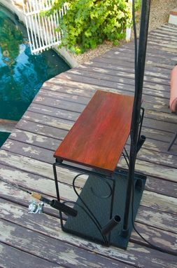 Custom Made Fishing Dock Table , Light And Pole Holder