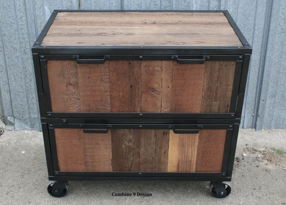 Buy A Hand Made Vintage Industrial File Cabinet Reclaimed Wood Rustic Filing Cabinet Made