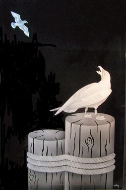Custom Made Seagull On Piling Beveled Mirror