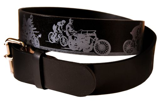 Custom Made Bicycle Print Leather Belt - A History Of Cycling