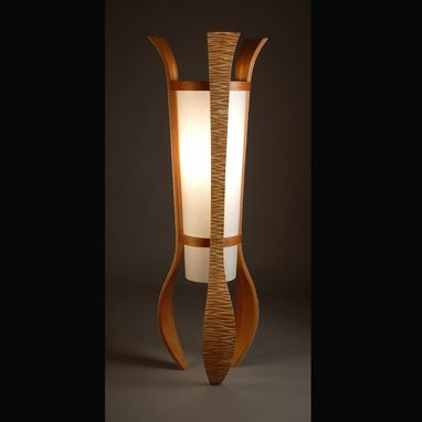 "Custom Made ""Aella""  Red Alder And Aspen Floor Lamp"