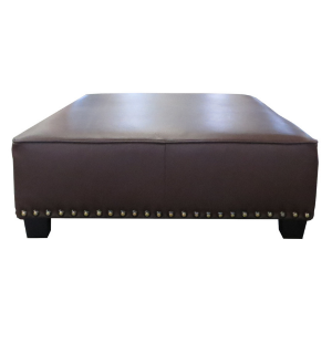 Custom Made Golf Club Leather Ottoman Bench With Renaissance Nailheads