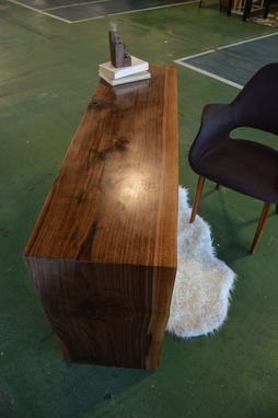Custom Made Walnut Waterfall Desk With Custom Ash Wood Ladder Leg