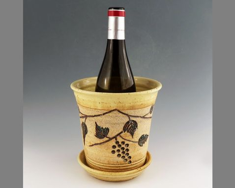 Custom Made Wine Chiller With Carved Grapes On The Vine - Creamy Yellow-Ice Bucket- Utensil Holder