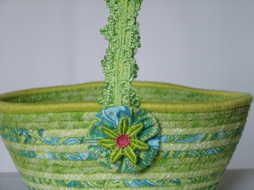 Custom Made Cloth Basket W/Handle - Coiled - Wrapped Clothesline - Small Roud - Lime Green