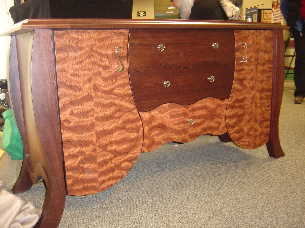 handmade dining room buffet cabinet in quilted bubinga and walnut